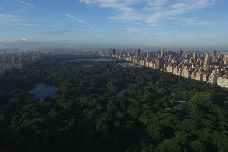 ドローンで空撮されたニューヨーク