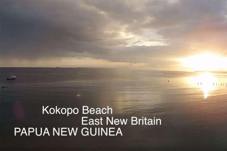 パプアニューギニアのビーチリゾート、ココポをドローンで撮影