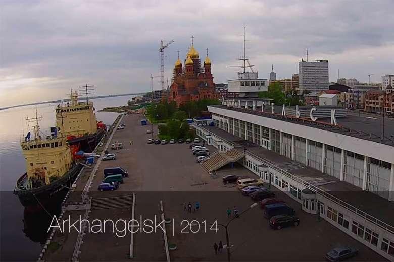 ロシア北西部、白海沿岸の最大の都市、大天使の町アルハンゲリスクをドローンで空撮