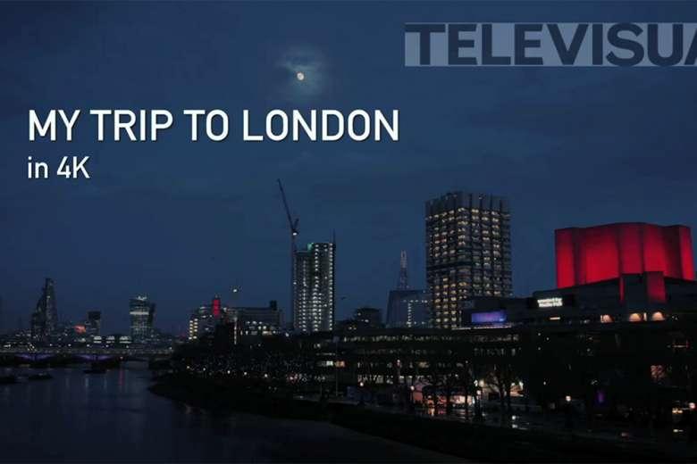 ドローンで空撮する夜の美しいロンドンの夜景