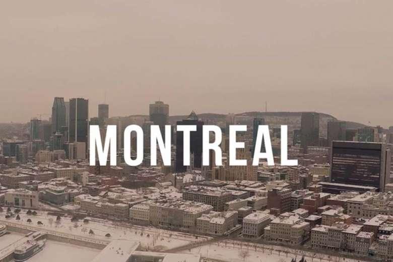 雪化粧した冬のカナダ・モントリオールを空撮