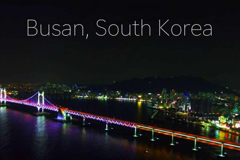 ガラリと変わる昼と夜の風景、韓国釜山へドローントリップ