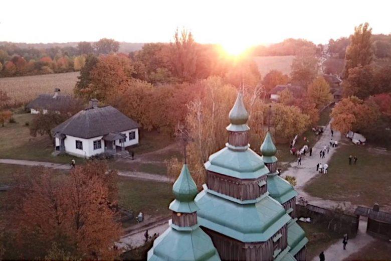家族と行ったウクライナ建築民族博物館で空撮